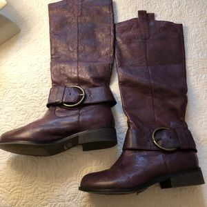 Plum leather boots